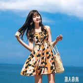 波西米亞洋裝海邊沙灘裙2019新款短裙高腰碎花雪紡連身裙吊帶洋裝女夏TT2324『麗人雅苑』