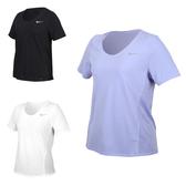 NIKE 女短袖T恤(吸濕排汗 拼接網布 運動 上衣 慢跑 路跑 免運 ≡排汗專家≡