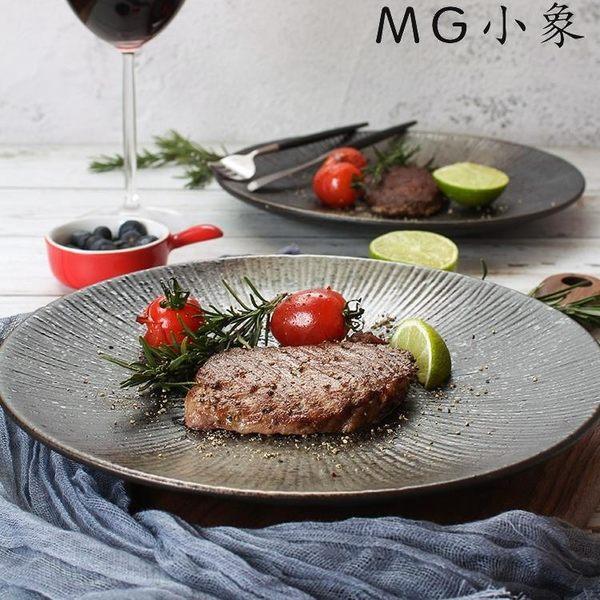 碟子-創意日式黑色圓形磨砂陶瓷餐具 MG小象