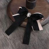 618好康鉅惠黑色氣質長袖襯衣飄帶領花配飾品 復古別針