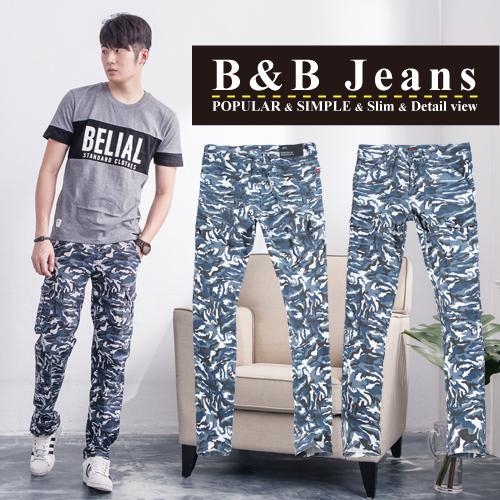 工作褲.美式海軍藍迷彩多口袋牛仔褲
