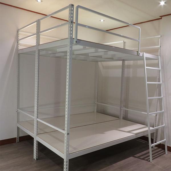 免螺絲 雙人上下鋪 白色角鋼 床架設計 鐵床架 可定製上下床 宿舍床架 組合床 空間特工D3WF609