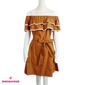 【SHOWCASE】甜美雙荷葉一字領綁帶俏麗短洋裝(棕)