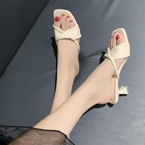 高跟拖鞋 細跟外穿女涼拖女2021夏季新款少女露趾百搭高跟鞋一字拖中跟拖鞋