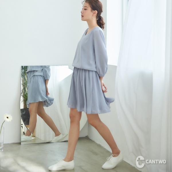 CANTWO細褶雪紡連身洋裝-共兩色
