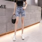 牛仔五分褲 牛仔短褲女夏季薄款正韓高腰顯瘦破洞寬鬆直筒五分中褲外穿-Ballet朵朵