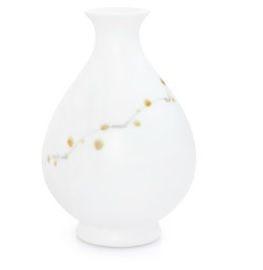 手繪梅花花瓶無光白釉