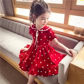 女童雪紡裙 夏裝2020新款洋氣兒童韓版公主裙女孩紅色波點雪紡裙子