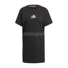 adidas 洋裝 Logo Tee Dress 女款 黑 塗鴉 手繪 愛迪達 長版 短袖【ACS】 GJ6523