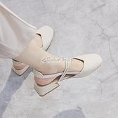 包頭涼鞋女夏中跟2021新款韓版百搭學生仙女風復古粗跟一字帶單鞋 快速出貨