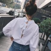 襯衫2019春秋ins新款個性感露背長袖寬鬆套頭白色小心機襯衫上衣女