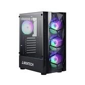 MONTECH(君主) X1 內建炫彩固光風扇前3後1 鋼化玻璃 電腦機殼 (黑)