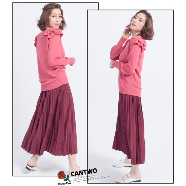 CANTWO荷葉肩飾針織上衣(共三色)~春夏新品登場網路獨家