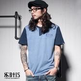【BTIS】亨利領文字 開襟T-shirt / 灰藍色