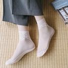 蕾絲襪子 襪子女蕾絲花邊絲襪短襪網紗襪中筒夏季薄款純棉底女士船襪-Ballet朵朵