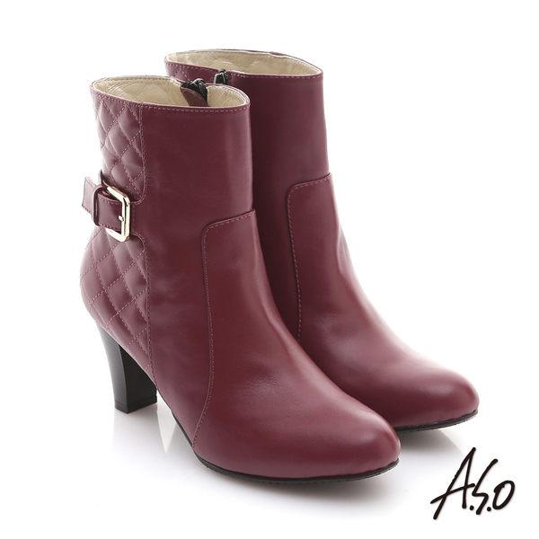 A.S.O 奈米系列 真皮素面拼接菱格紋飾釦短靴  暗紅