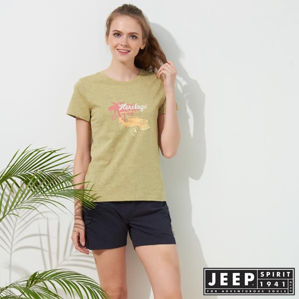 【JEEP】女裝 彩繪吉普車印花短袖TEE-檸檬黃
