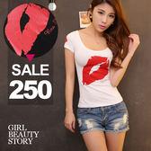 SISI【T7067】百搭U型低領性感爆乳紅唇印花緊身顯瘦短袖T恤上衣
