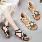 沙灘鞋 百搭涼鞋網紅女鞋平底鞋仙女鞋沙灘鞋2021夏季新款學生羅馬鞋時尚 歐歐