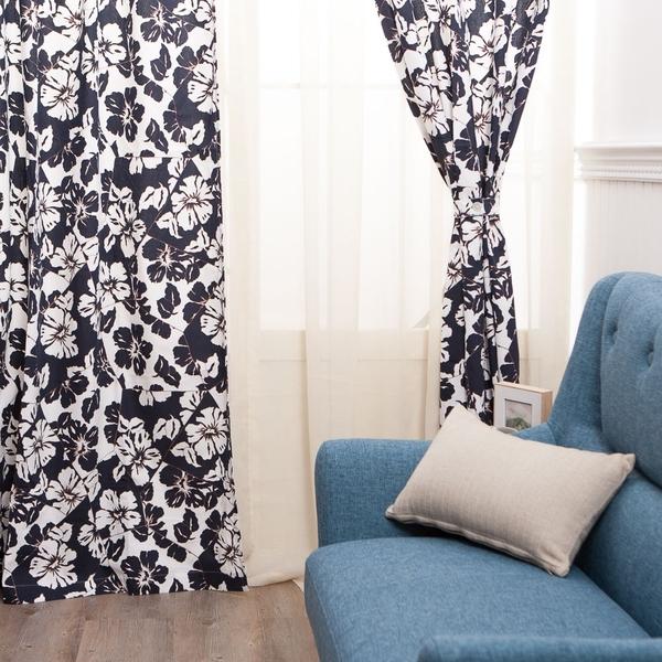 【週年慶倒數3天 8折起】扶桑花二片式窗簾145250-生活工場