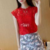 新款韓版時尚女裝無袖蕾絲衫寬鬆顯瘦打底衫百搭t恤上衣 俏腳丫
