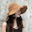 沙灘帽 夏季女士太陽帽女韓版時尚遮陽帽防紫外線盆帽休閒 百搭漁夫帽草帽