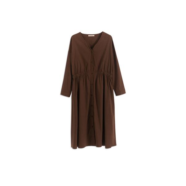 Queen Shop【01084740】棉麻V領排釦縮腰造型長洋裝 兩色售*現+預*