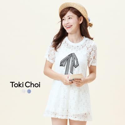 東京著衣-鏤空蕾絲印花短袖長版上衣-XS.S.M(6016052)