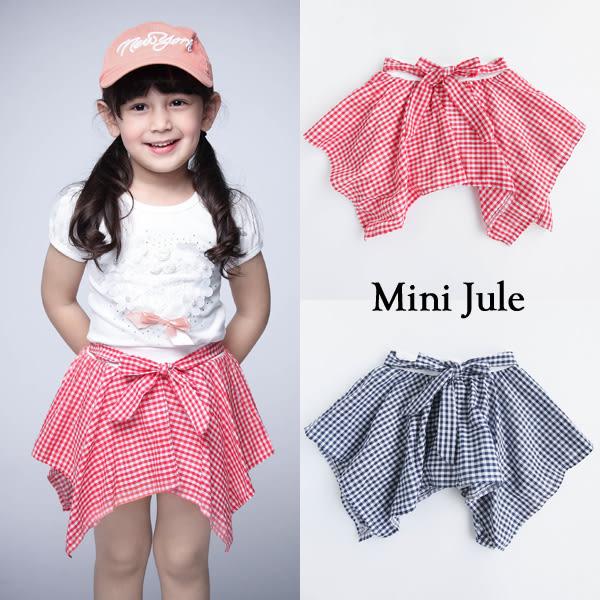 童裝 褲裙 格紋不規則下擺綁帶褲裙(共2色)