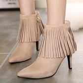真皮短靴-時尚性感細跟尖頭流蘇女靴子2色72a1【巴黎精品】