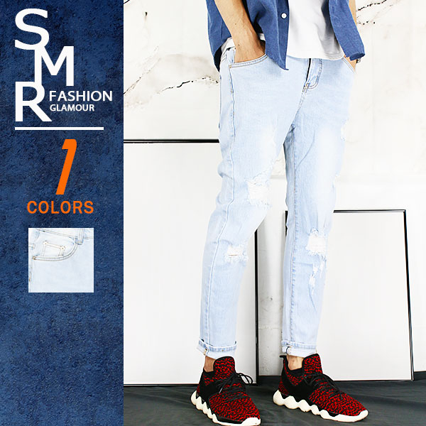 牛仔褲-刷白淺牛仔破褲-型男百搭淺牛仔《9998074》淺藍色【現貨+預購】『RFD』