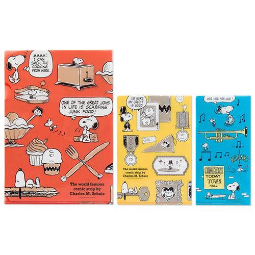 《Sanrio》SNOOPY幽默圖紋系列文件夾組(一組3個入)★funbox生活用品★_502294N