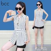 BCC無袖雪紡襯衫女短袖2018夏季夏裝新款寬鬆V領條紋中長款白襯衣 依凡卡時尚