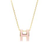 【HERMES】Pop H pendant立體橢圓簍空項鍊(粉/玫瑰金) H147991F 85