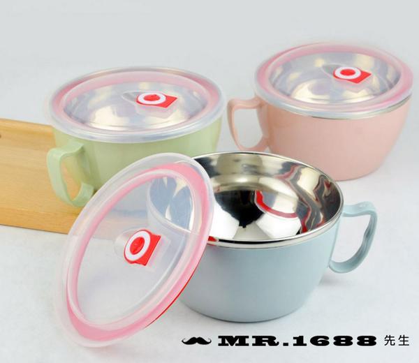 不銹鋼碗泡麵碗帶蓋 韓式泡麵杯 304不銹鋼1000ML【Mr.1688先生】