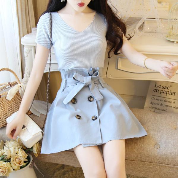 VK旗艦店 韓國風小清新針織上衣蝴蝶結系帶半身高腰短裙套裝短袖裙裝