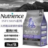 *KING*美國Nutrience紐崔斯《INFUSION天然糧高齡體控貓-雞肉》5公斤