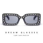 方框珍珠太陽鏡 個性鑲鉆眼鏡 時尚太陽眼鏡【五巷六號】y36
