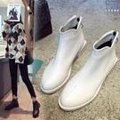 裸靴 切爾西短靴女秋冬新款加絨粗跟秋冬白色英倫風馬丁靴短筒 - 古梵希