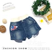 韓版剪裁時尚造型單寧短褲 女童短褲 牛仔短褲 牛仔褲 鬆緊腰 鬆緊 美式 口袋 百搭 哎北比童裝