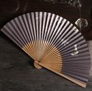 月亮扇 中國風6.8寸折扇男扇女扇雙面紙扇穿扇日用禮品扇蜻蜓飛舞