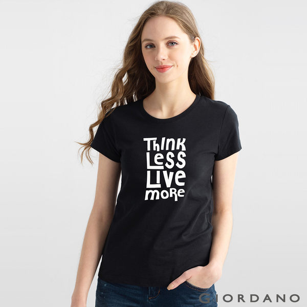 GIORDANO 女裝英文口號純棉印花TEE-78 標誌黑色