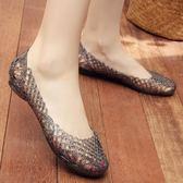 坡跟塑料包頭涼鞋女夏沙灘洞洞鞋平底跳舞鞋韓國媽媽鞋水晶涼鞋 MM112 『小美日記』