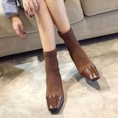 襪子靴針織彈力靴粗跟短靴中跟方頭裸靴馬丁靴女 伊衫風尚