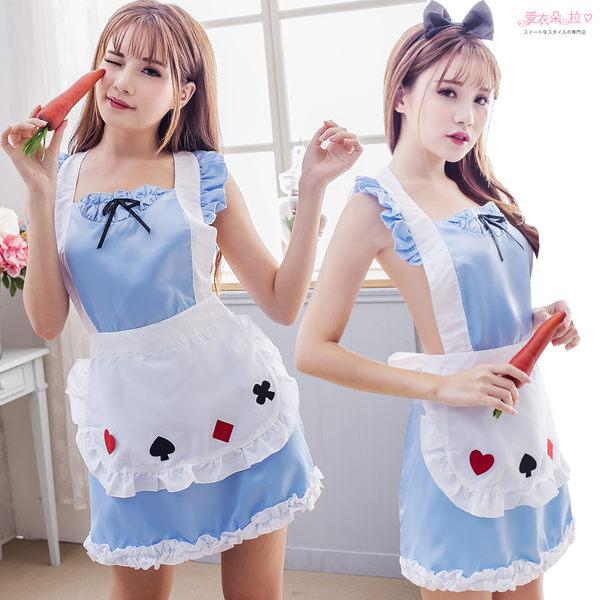 圍裙 女僕 角色扮演女僕圍裙 裸背後綁帶藍白色連身裙- 愛衣朵拉