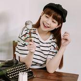 Poly Lulu 清新手袖刺繡條紋T恤-白【91010200】