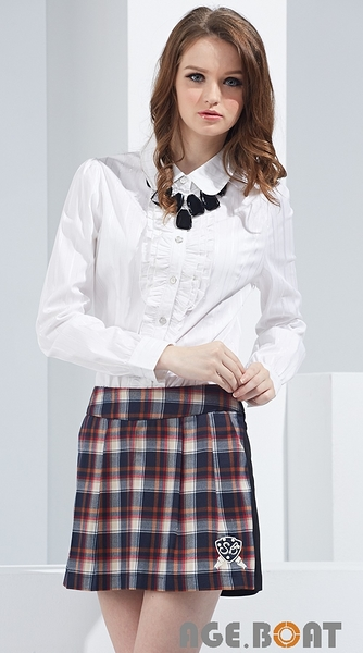 【AGE BOAT】秋冬品牌服飾特賣~格紋SB綴珍珠口袋裙褲 NO.152306