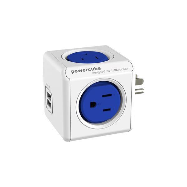 PowerCube雙USB擴充插座/藍色【allocacoc】