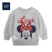 Gap女嬰Gap x Disney 迪士尼系列米妮毛圈布套頭休閒上衣525794-石楠灰