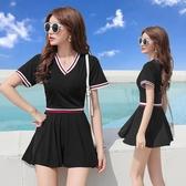 泳衣女兩件套 韓國ins風保守網紅顯瘦裙式溫泉學生運動分體游泳衣 全館免運 快速出貨